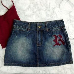 Rocawear Jean Skirt Embroidered Denim Skirt